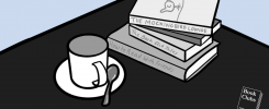 Illustration of a coffee cup and a stack of books on a cafe table at The Mockingbird Lounge in Adelaide, Australia.